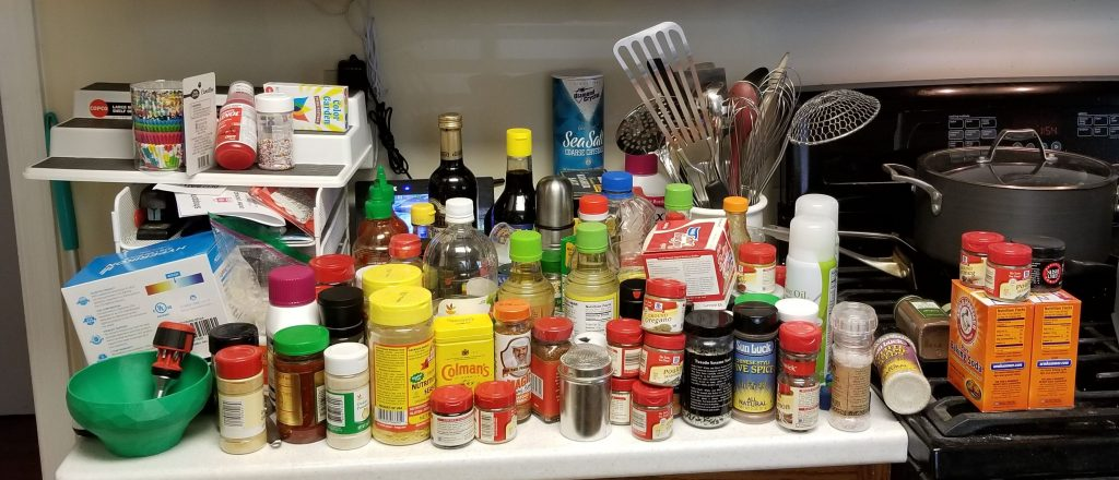 spice cupboard contents on the counter