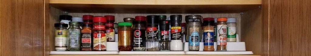 organizing the spice shelf - bottom shelf