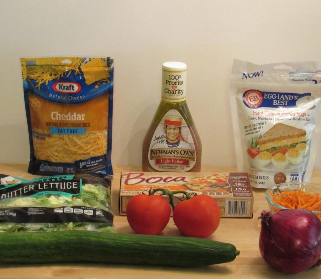Ingredients for Boca Spicy Chik'n Cobb Salad
