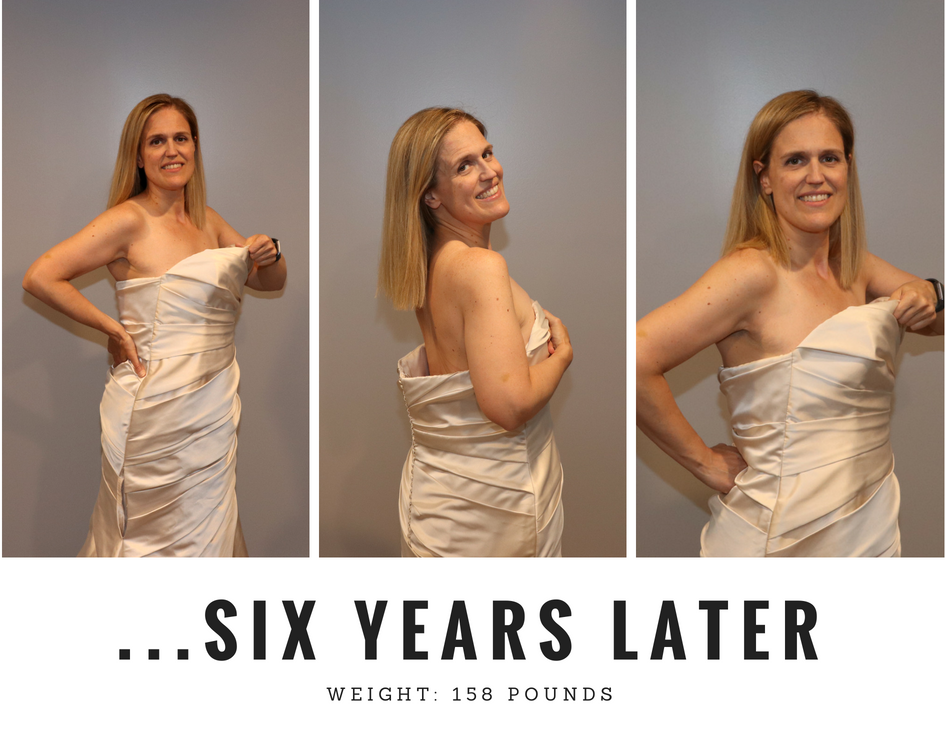 Me trying on my wedding dress after having lost 70 pounds