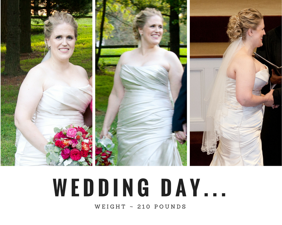 My wedding day pictures weighing 210 pounds