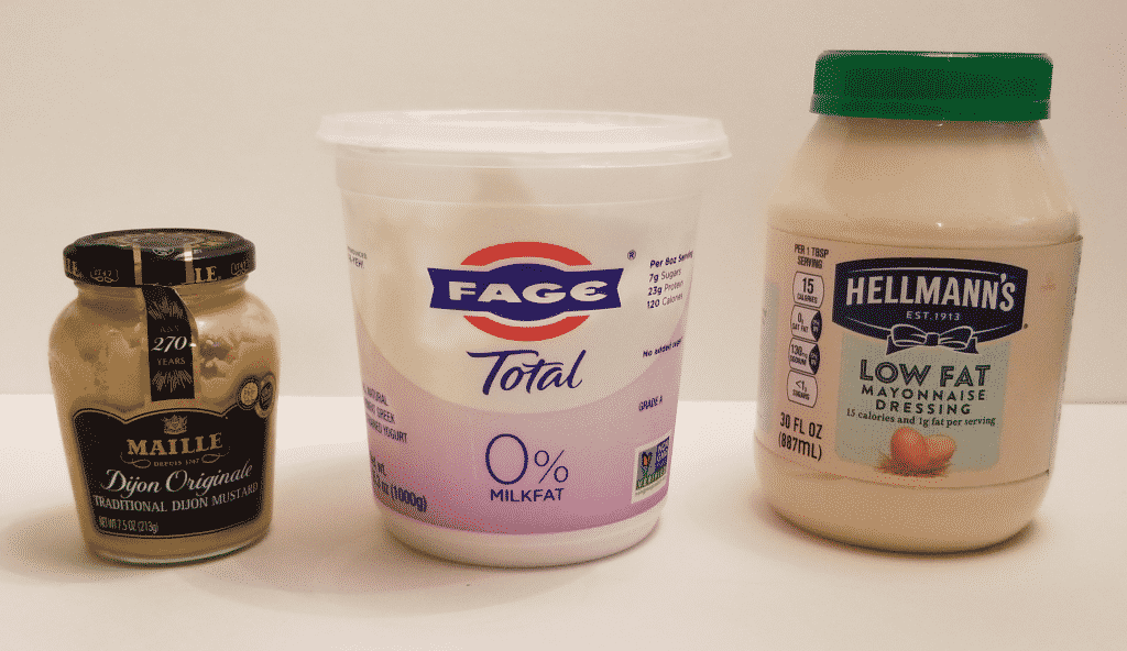 dijon mustard, fat-free Greek yogurt, and low fat mayonnaise