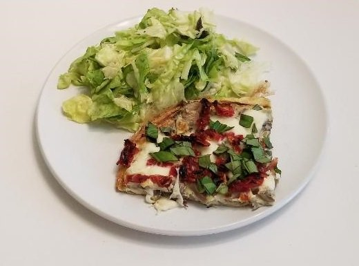 Plated frittata with salad
