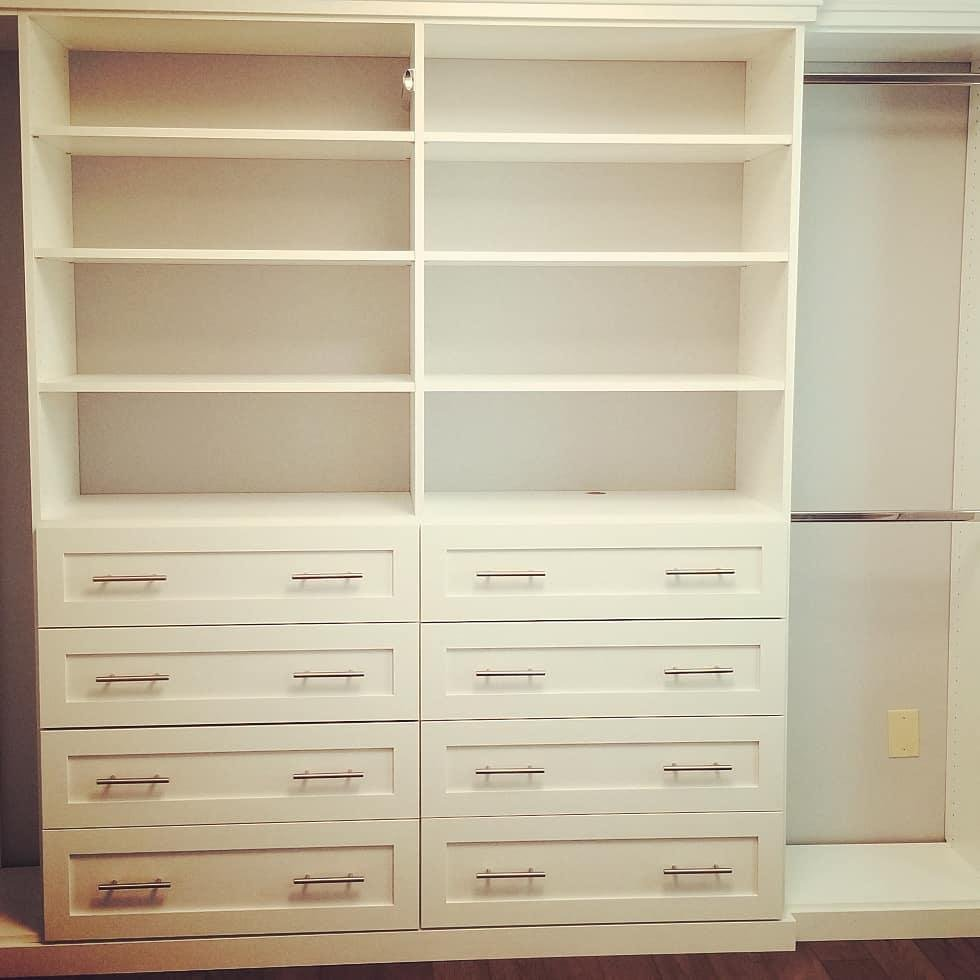 His and Her hutches with drawers and shelves in dream closet