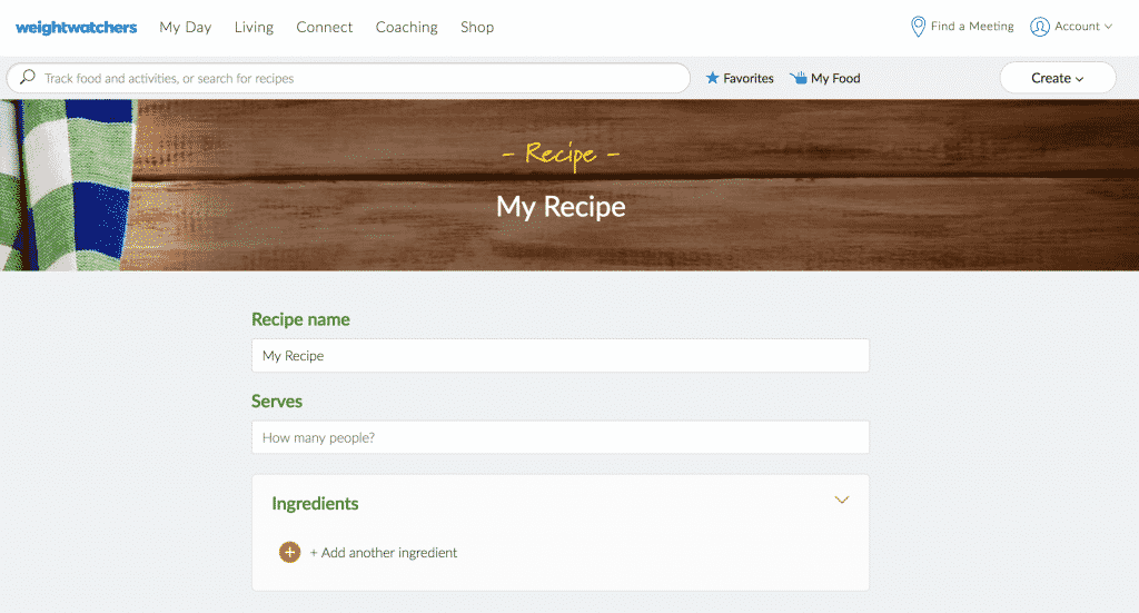 Weight Watchers Recipe Builder Tool