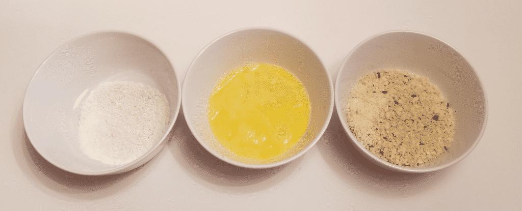 3 bowls - flour, egg, parm + panko