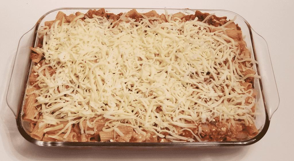 Prepared lasagna ready to bake