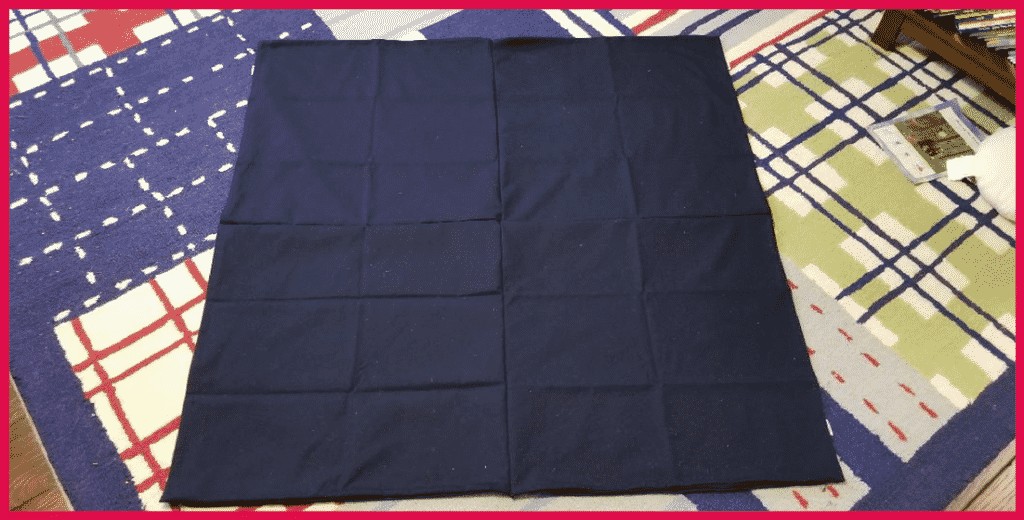 completed giant pillow case with seam sides down