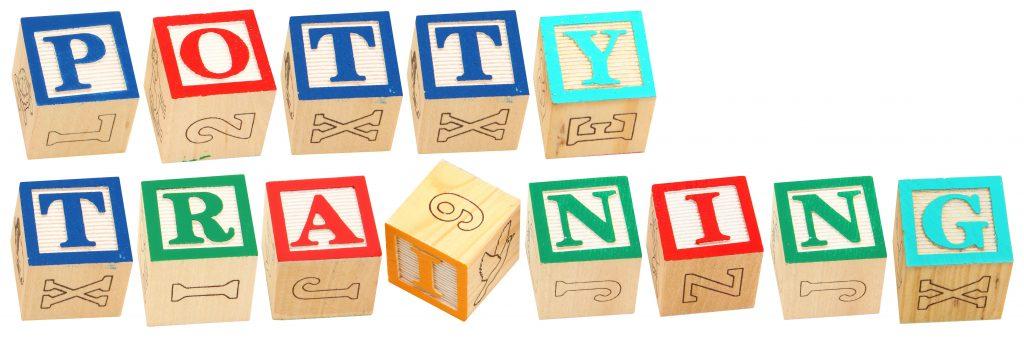 Colorful alphabet blocks spelling the word POTTY TRAINING