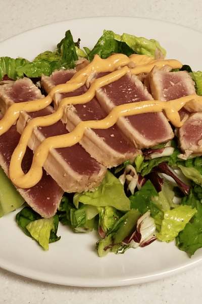 Marinated Seared Ahi over Greens