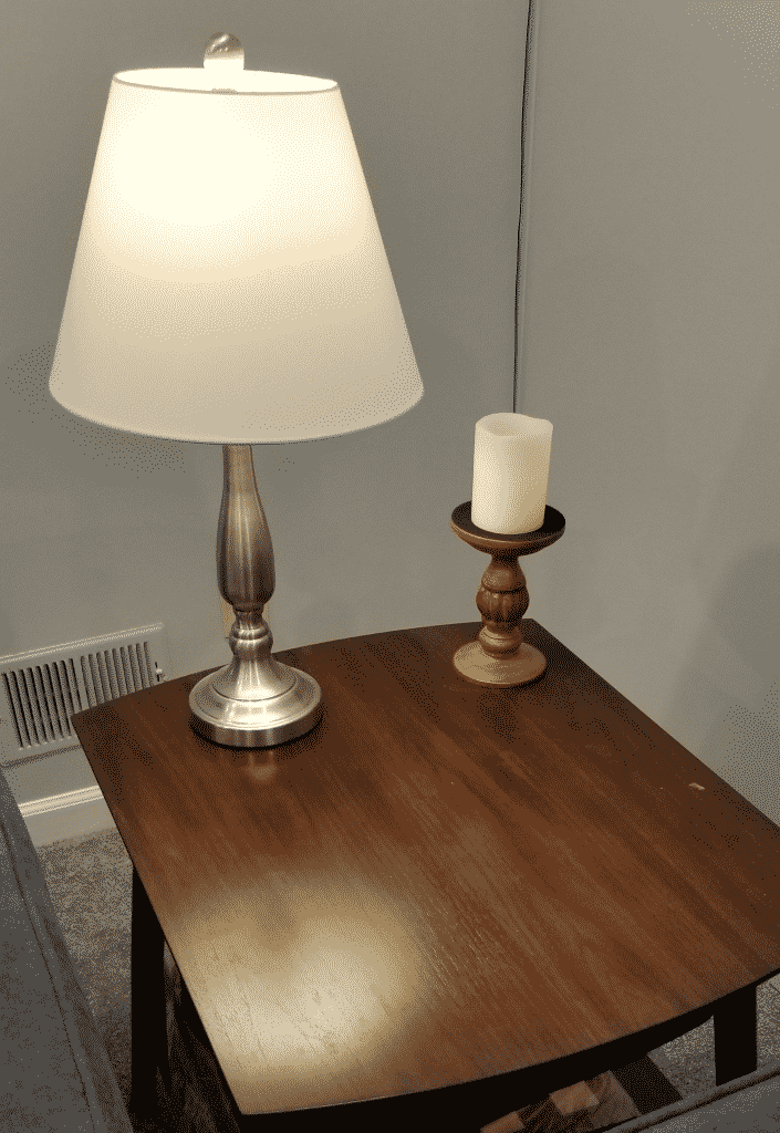 Candle on end table