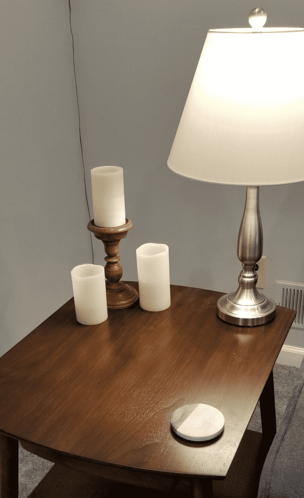 End table with candles