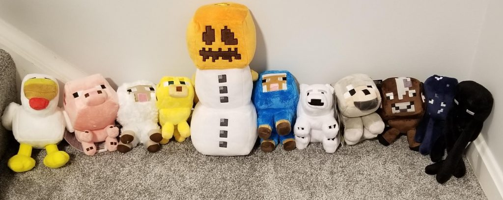 Minecraft stuffed toys to use as surprises for going on the potty