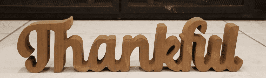 Wooden script Thankful