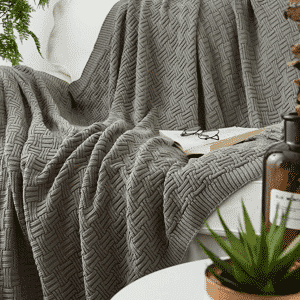 Cotton Cable Gray Knit Throw Blanket