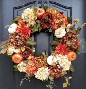 Etsy Fall Wreath pumpkins and hydrangeas