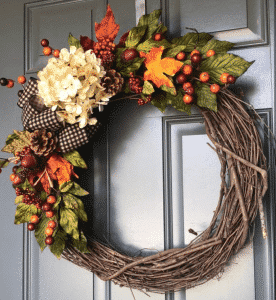 Etsy Fall Wreath - Hydrangea and Gingham Ribbon