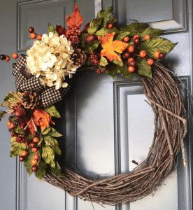 Etsy Fall Wreath - Hydrangea and Gingham Ribbon