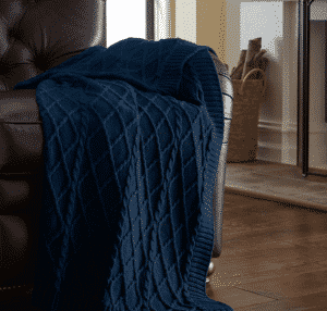 Amraupur Overseas 100-percent Cotton Oversized Cable Diamond Knit Throw