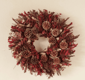 Plow & Hearth Autumn Pine Cone Wreath