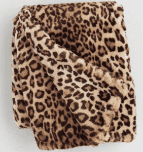 Leopard Print Faux Fur Throw Blanket
