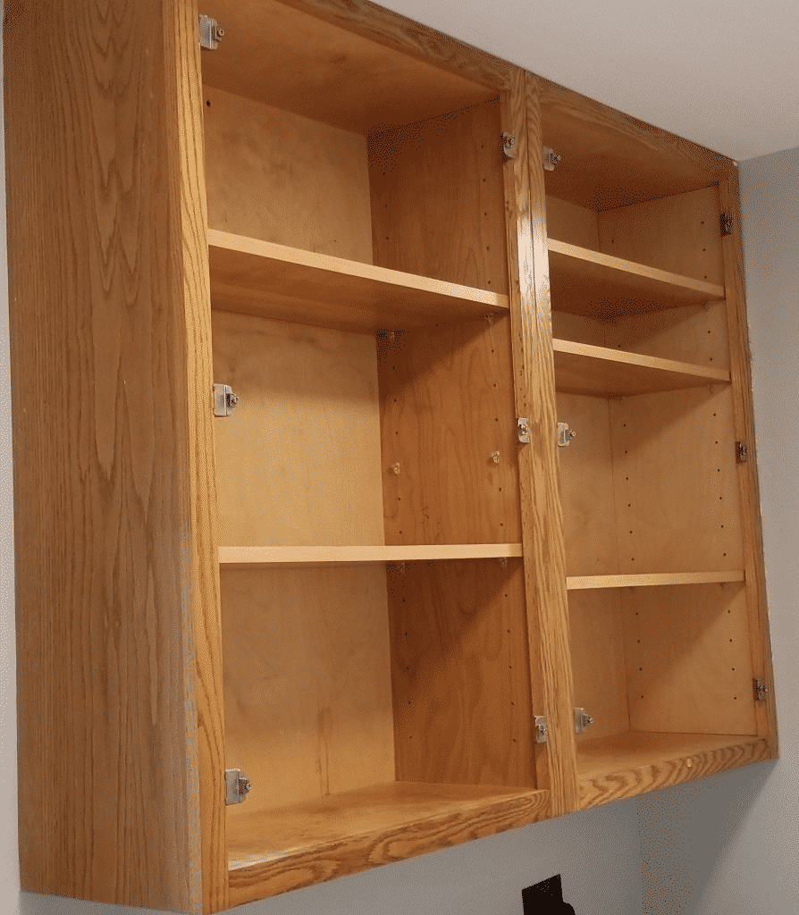 cabinets without doors on them