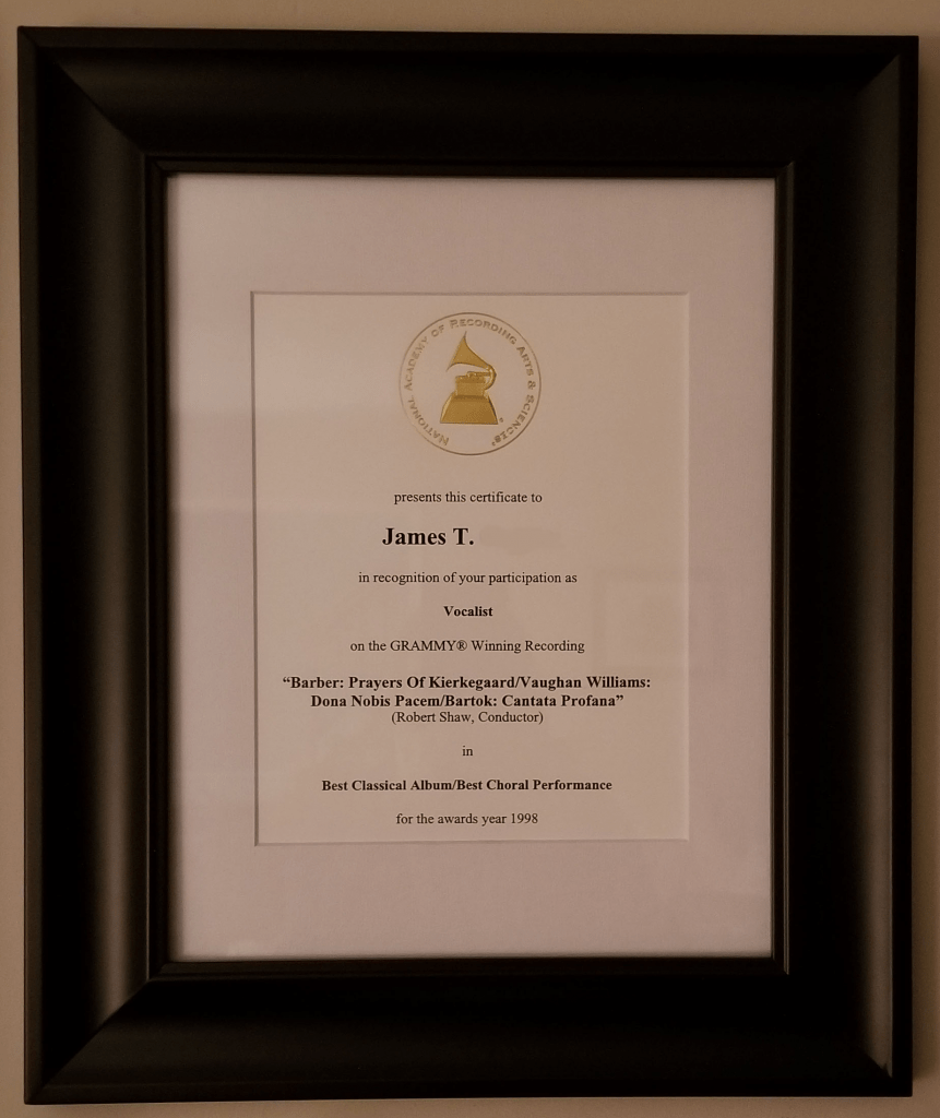 Grammy Award framed