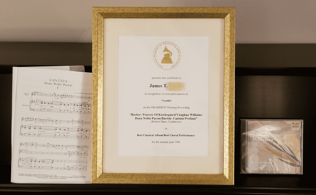 sheet music, grammy award certificate, CD