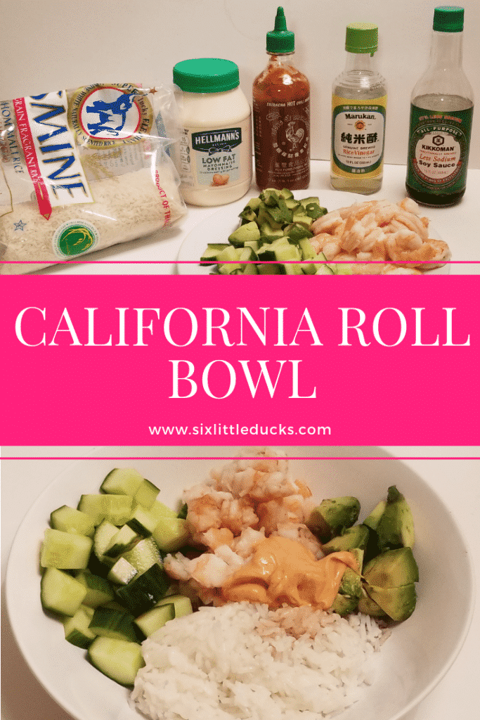 California Roll Bowl Ingredients and completed dish