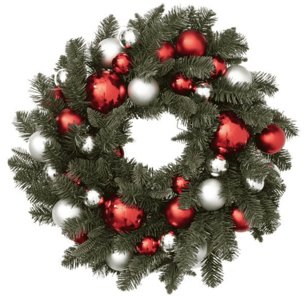 PB Ornament Pine Home Decor Wreath - Red and Silver