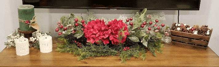 TV stand Christmas decor