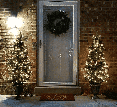 front door decor christmas trees with lights