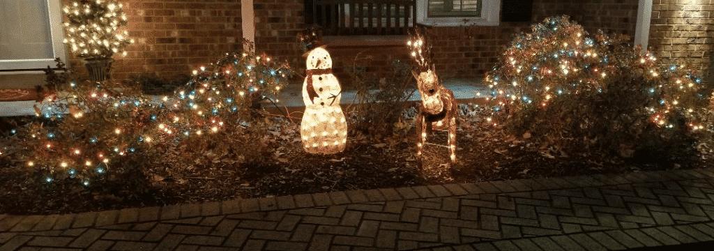snowman reindeer and bush lights