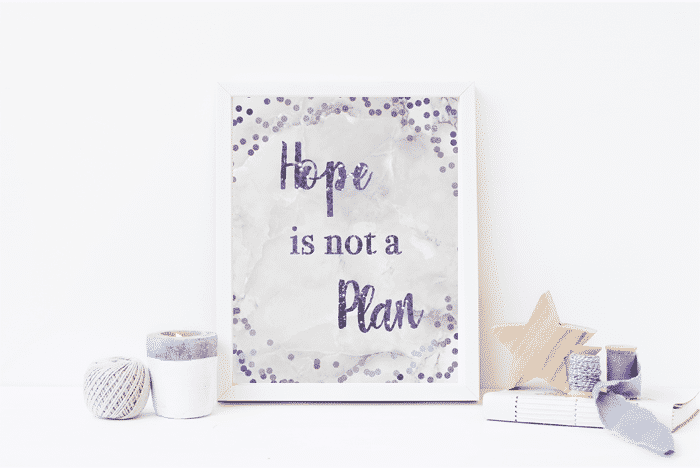 picture frame with Hope is Not a Plan picture in it in purple