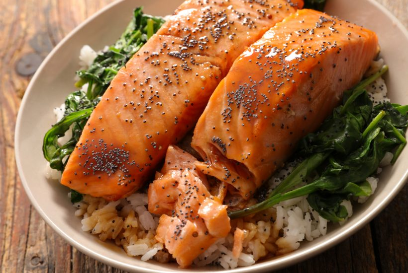 Cooked salmon filets
