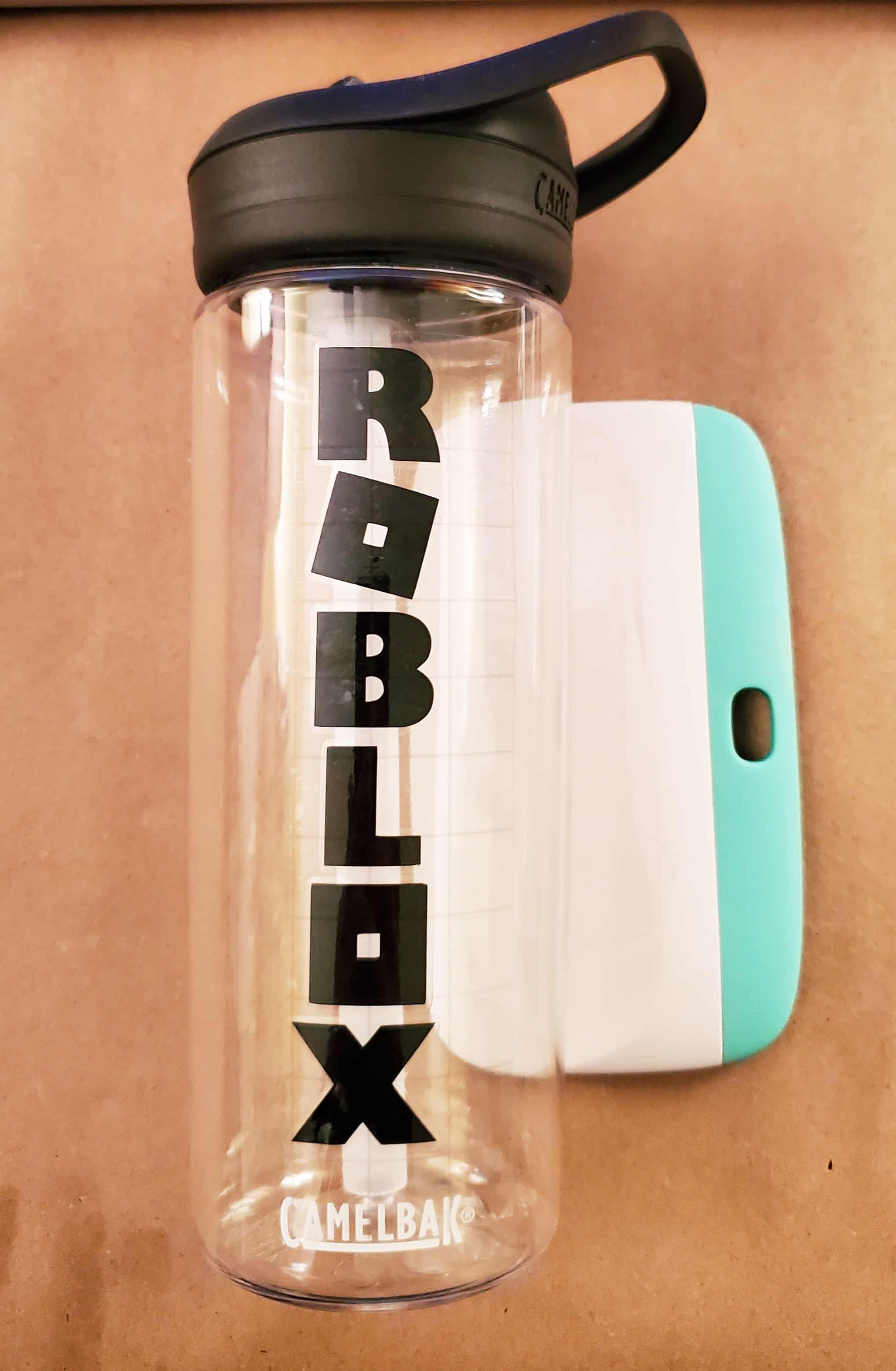 Roblox water bottle with first layer of lettering