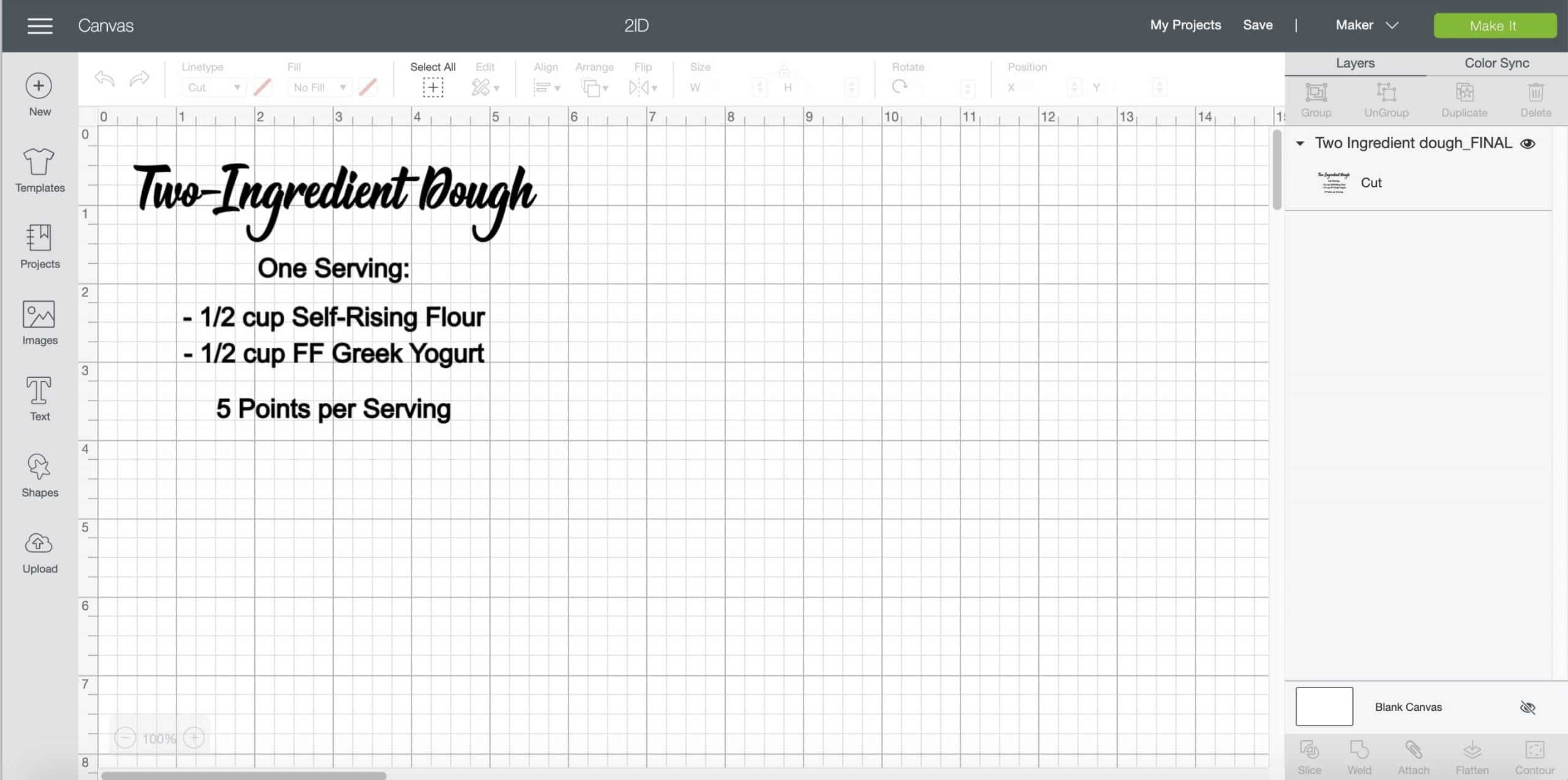 screenshot of Cricut Design Space Two Ingredient Dough recipe