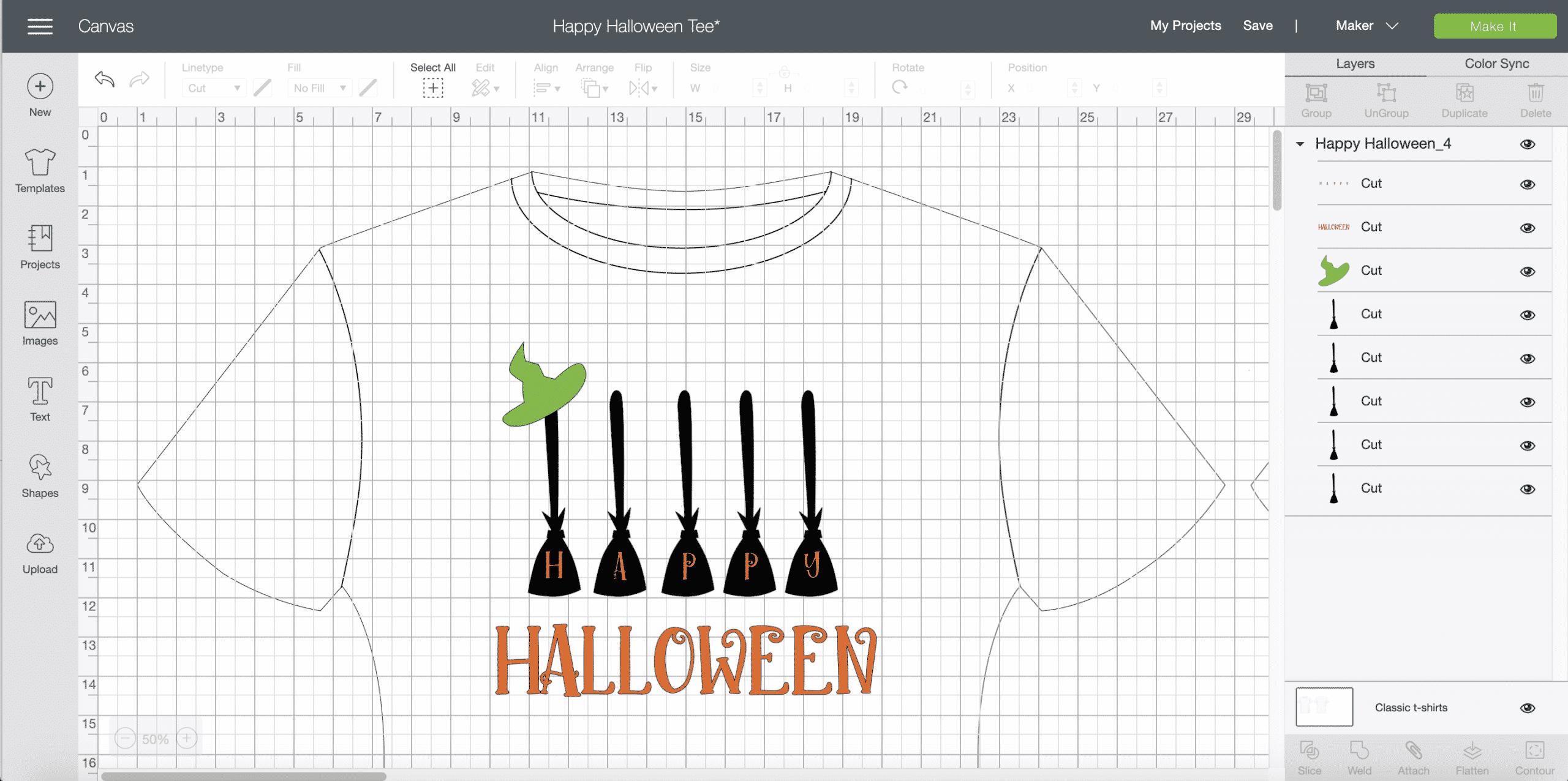 Cricut Design Maker DIY Happy Halloween t-shirt