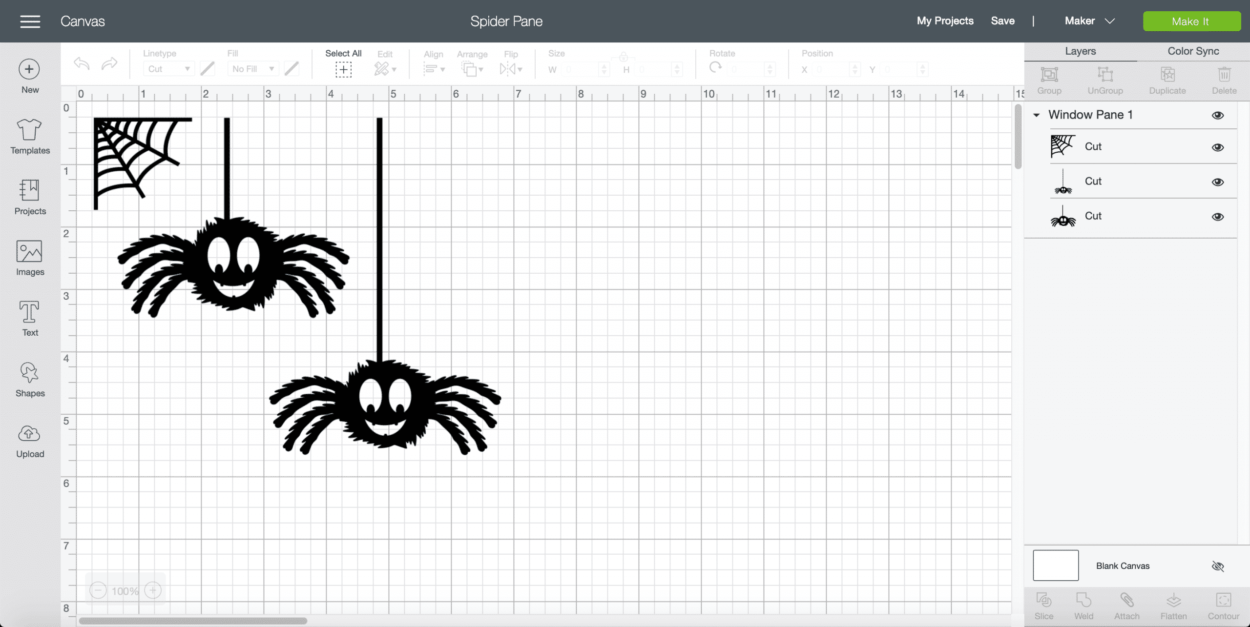 Cricut Design Space Spider Pane