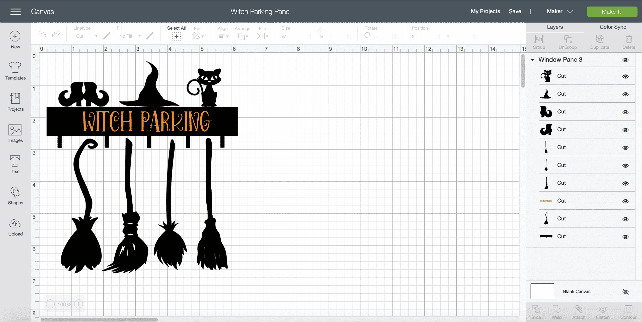 Cricut Design Space Witch Parking Pane
