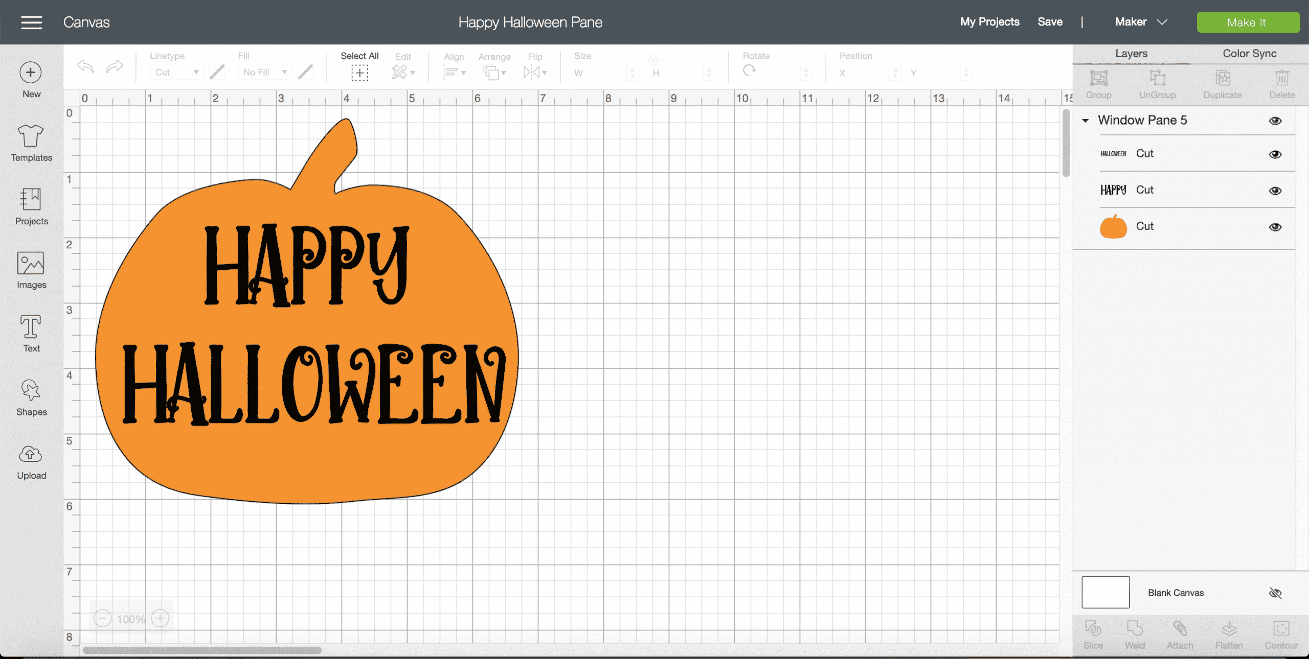 Cricut Design Space Happy Halloween Pane