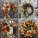Picture of four fall wreaths