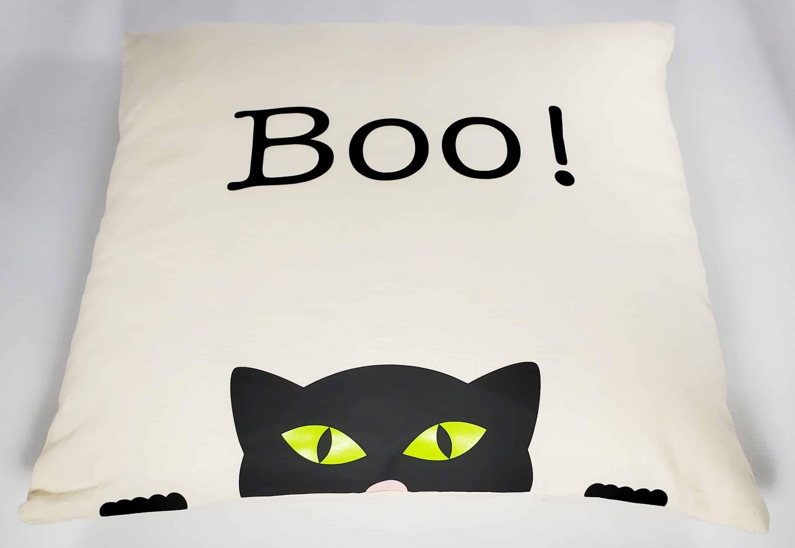 Final Boo Cat Halloween Pillow
