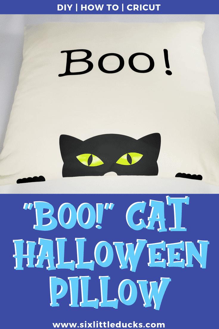 Boo Cat Halloween Pillow