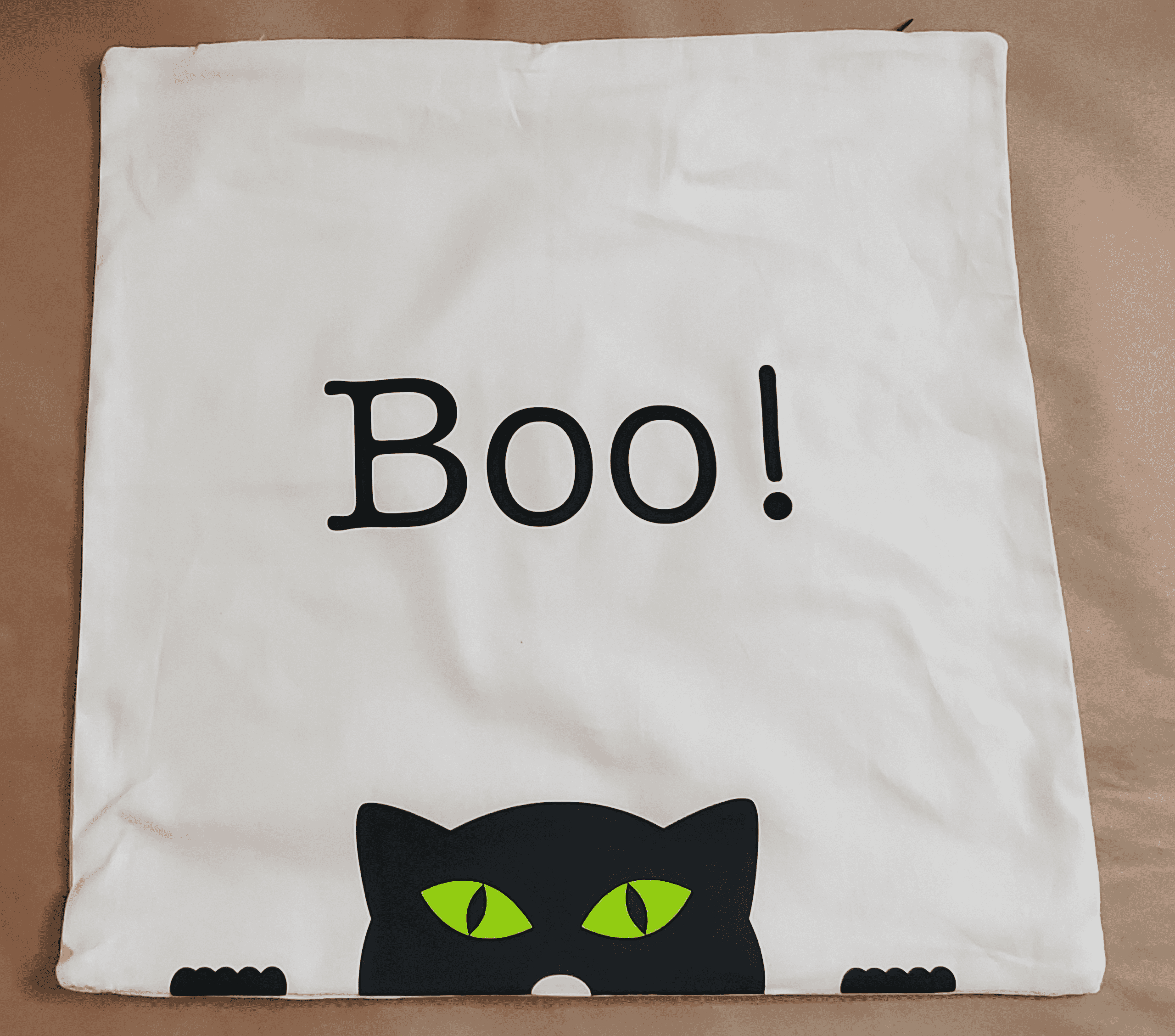 Finished Boo Cat Halloween Pillowcase