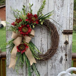 Burgundy sunflower Fall wreath
