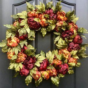 Burnt Orange and Merlot Fall PEONY Wreath
