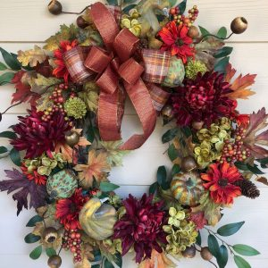 Fall with Bow, Mum and Sunflower Wreath