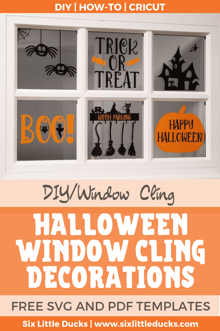Halloween Window Cling Decorations on Front Door