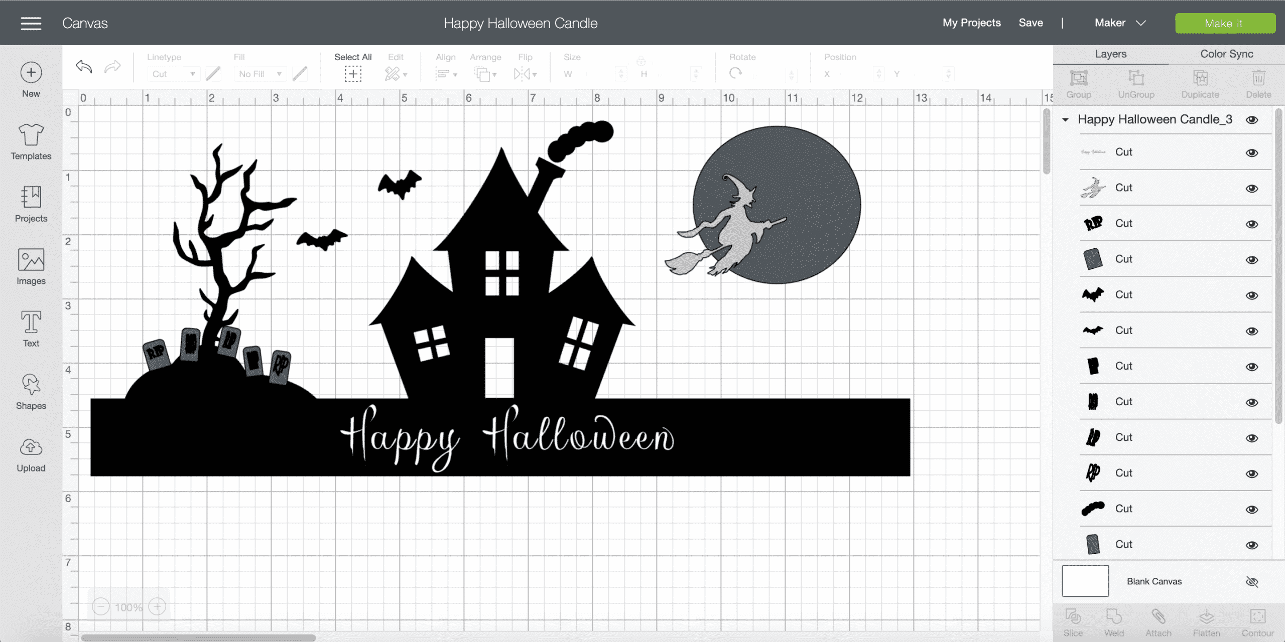 Happy Halloween Candle Cricut Design Space